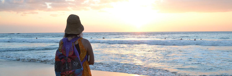student at beach